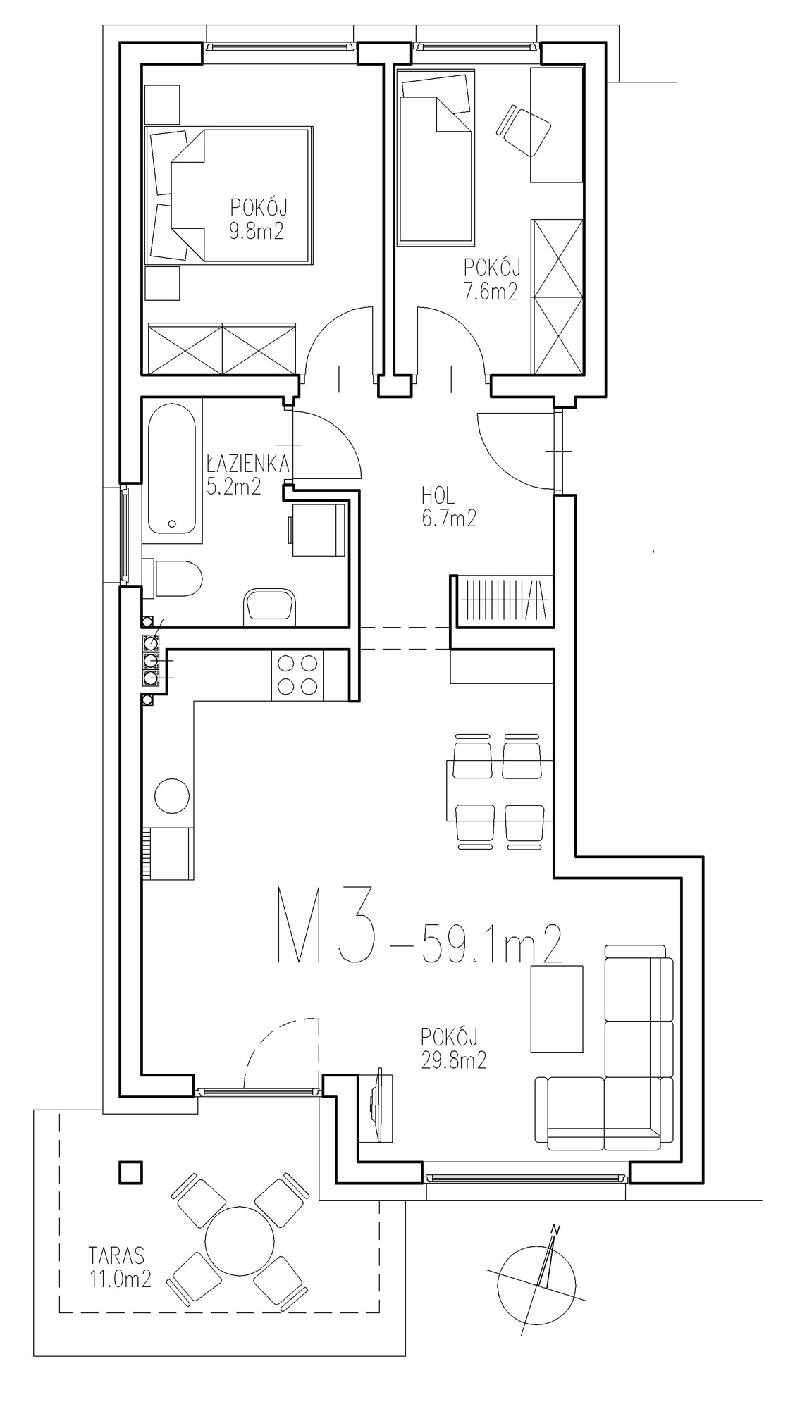 KTK Deweloper - Ełk - ul. Ogrodowa - Blok nr 2 - Mieszkanie nr 14
