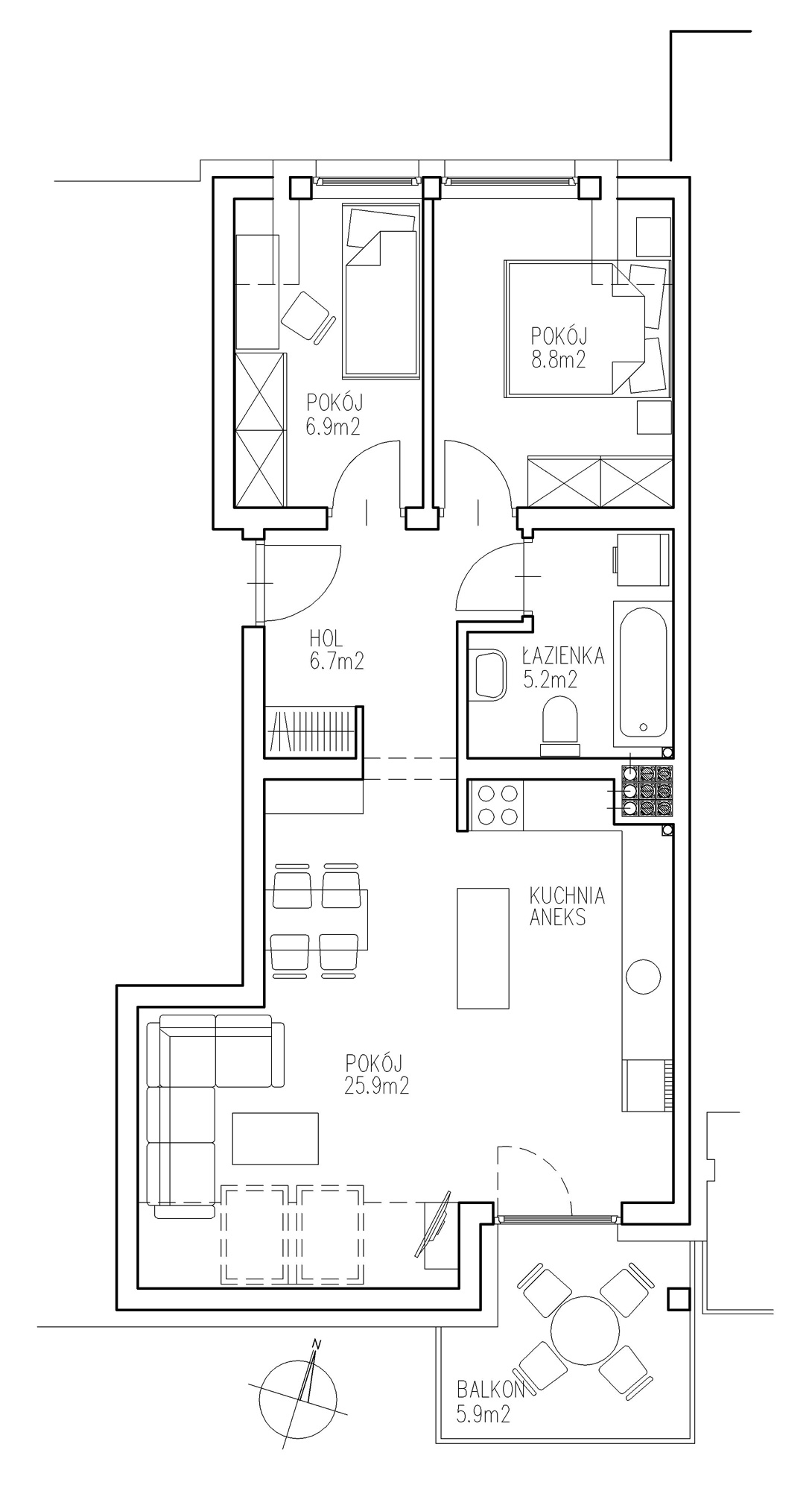 KTK Deweloper - Ełk - ul. Ogrodowa - Blok nr 2 - Mieszkanie nr 17