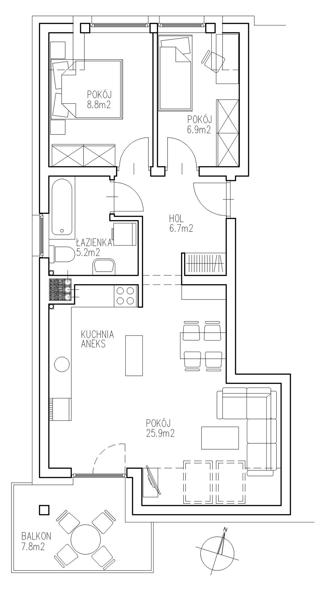 KTK Deweloper - Ełk - ul. Ogrodowa - Blok nr 2 - Mieszkanie nr 18