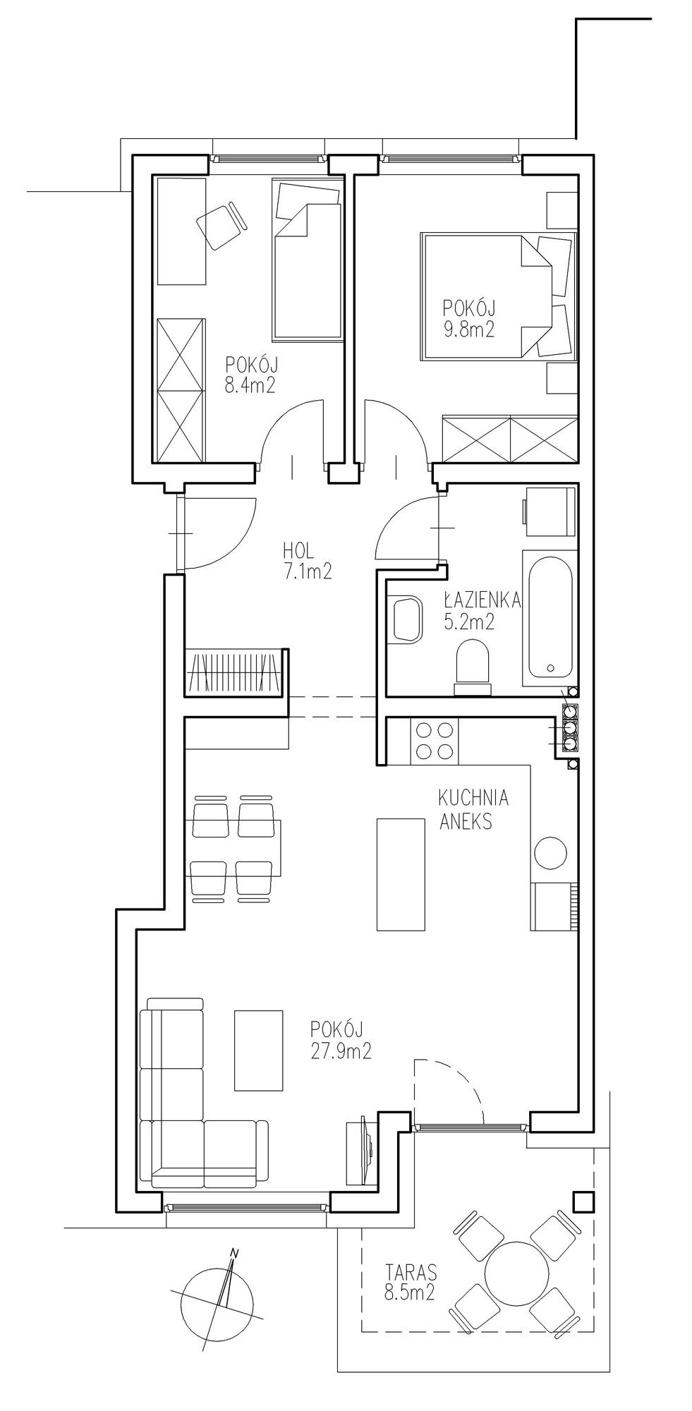 KTK Deweloper - Ełk - ul. Ogrodowa - Blok nr 2 - Mieszkanie nr 7
