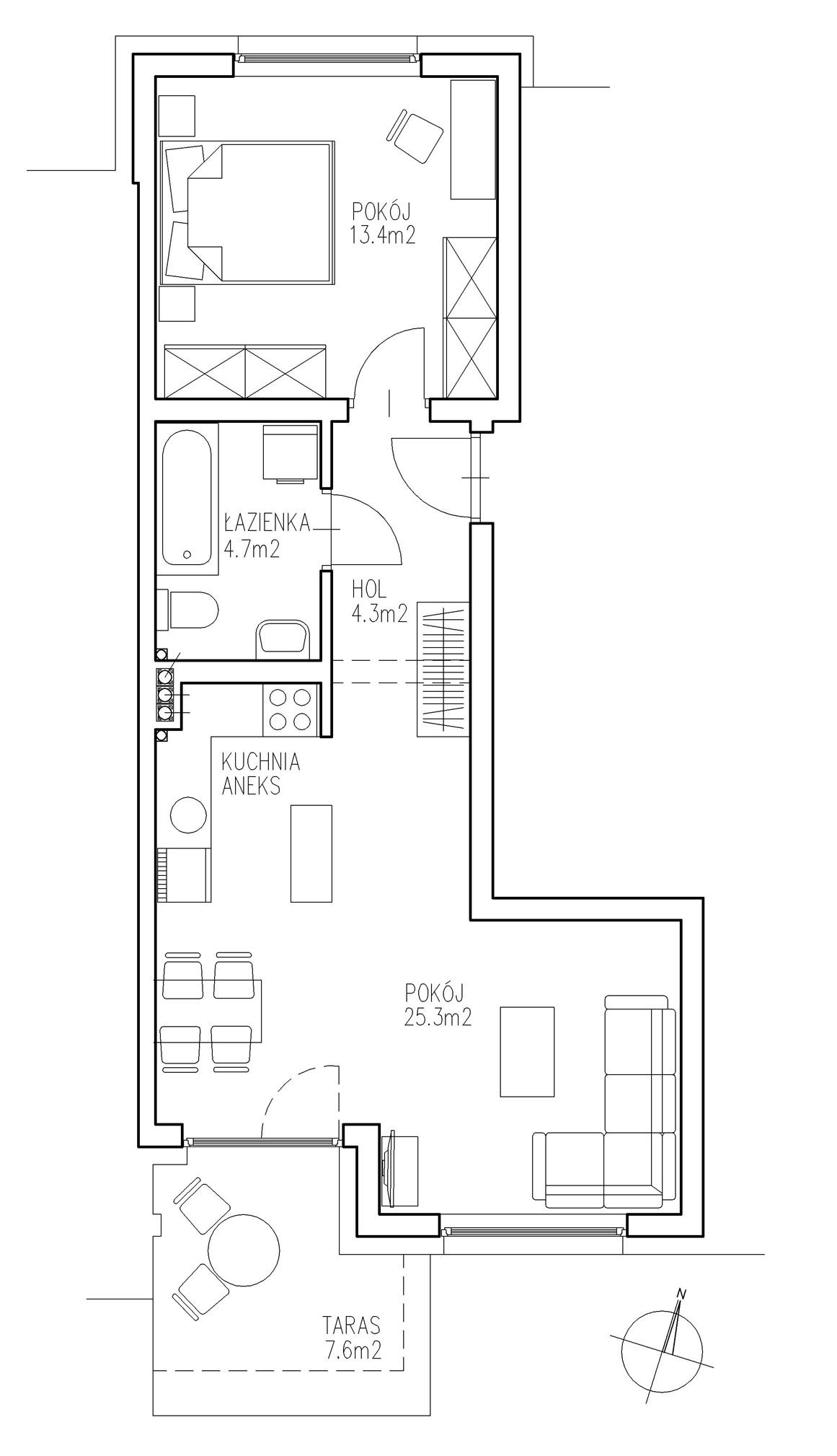 Mieszkanie nr 2 | Blok nr 1 | ul. Ogrodowa | Ełk